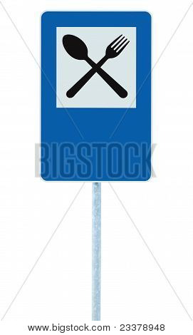 Restaurant Sign Post Traffic Road Roadsign, Blue Isolated Dinner Bar Catering Fork Spoon Signage