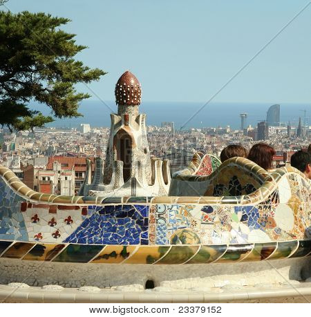 BARCELONA, SPAIN -JULY 21: The famous Park Guell on July 21, 2011 in Barcelona, Spain. Park Guell is the famous park designed by Antoni Gaudi and built in the years 1900 to 1914