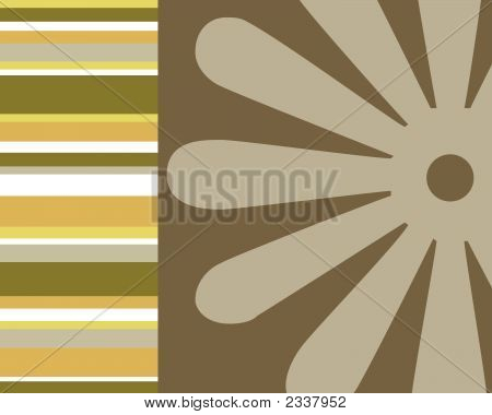 Retro Stripes, Circles And Floral Background