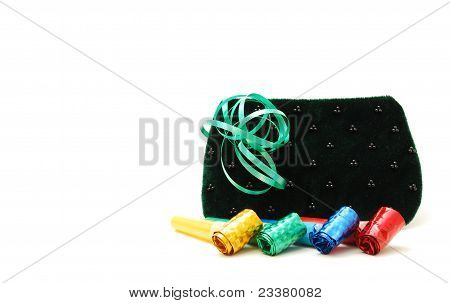 Dark Green Evening Bag with Noisemakers, Streamers