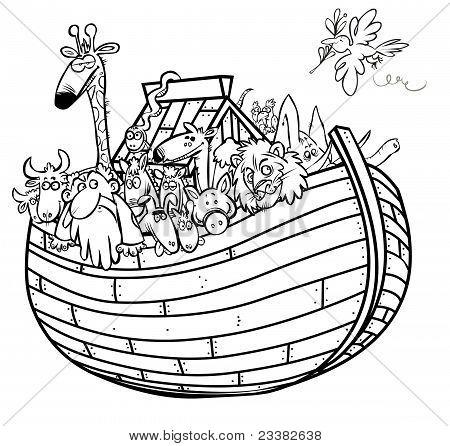Noah's Ark outline cartoon.