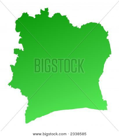 Green Gradient Cote D'Ivoire Map
