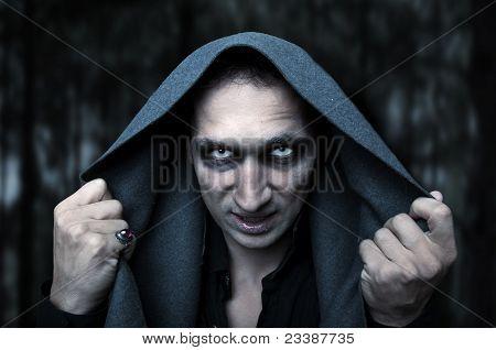 Conceito de Halloween. Olhos do mal de mistério