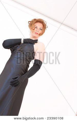 Elegant woman in evening dress