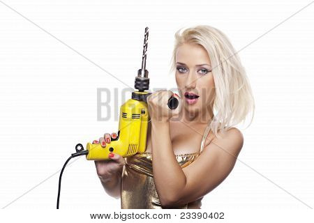 Blonde Girl With A Power Drill