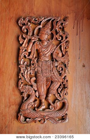 Carving Man In Wooden Lanna Style