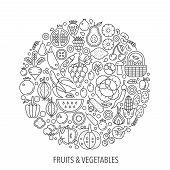 Fruits Vegetables Food In Circle - Concept Line Illustration For Cover, Emblem, Badge. Fruits Vegeta poster