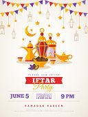 Iftar Party Celebration Concept Flyer. Vector Illustration. Sweet Dates, Fanous Lantern And Arabic C poster