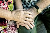 Hands Of Elderly Couple, Holding Hands Of Seniors Together Close-up, Concept Of Relationships, Marri poster