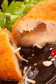 picture of kiev  - ?lose up of chicken Kiev cutlet - JPG
