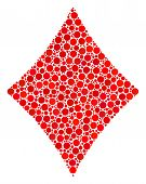 Diamonds Suit Composition Of Dots In Variable Sizes And Color Tones. Circle Dots Are United Into Dia poster