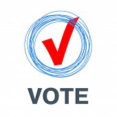 Voting Symbols Vector Design. Template Elections Icons. Check Marks. Vector Red Vote Label. Poll Ico poster