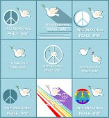 Greeting pastel blue cards with paper cut out doves, peace symbol and rainbow for International Peac poster