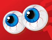 foto of hypertrophy  - hypertrophied huge balls bulging eyes on a red background - JPG