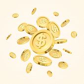 Realistic Gold Coin Explosion Or Splash On White Background. Rain Of Golden Coins. Falling Or Flying poster