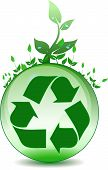 pic of reuse recycle  - Recycling symbol on top of a green globe with plants growing - JPG