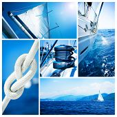 Collage de yate.Concepto de Sailboat.Yachting