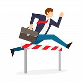 Achieving Goal. Businessman Jumping Over Hurdle. Business Challenge, Successful Overcoming. Vector I poster