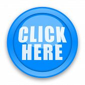 pic of start over  - Blue large Click Here button illustration over white background - JPG