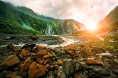 Beautiful Scenic Of Fox Glacier West Coast Southland New Zealand poster