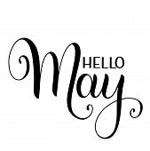 Hello May Lettering. Elements For Invitations, Posters, Greeting Cards. Seasons Greetings poster