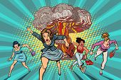 People Run Away From A Nuclear Explosion. Pop Art Retro Vector Illustration Comic Cartoon Kitsch Dra poster