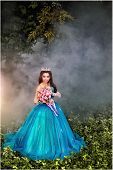 [cinderella ] A Beautiful Young Girl Like Cinderella Is Walking In The Garden. poster