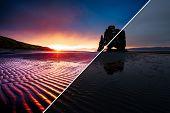 Awesome dark sand after the tide. Location Hvitserkur, Vatnsnes peninsula, Iceland, Europe. Amazing  poster