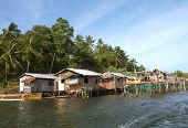 picture of surigao  - Native Huts along a River in Philippines - JPG