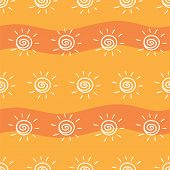 Drawing Sun On Yellow And Orange Striped Background. Pattern Painting Sun On Striped Orange Backgrou poster