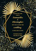 Wedding Glamorous Invitation Floral Card With Gold Geometric Frame And Palm Leaves On Black Marble B poster