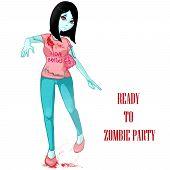 Zombie Girl. Zombie Apocalypse. Halloween Party. Illustration. Art Creation poster