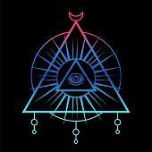 All-seeing Eye Symbol. Sacred Geometry, Third Eye. Tattoo Mystic Design. Vector Illustration On A Bl poster