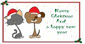 image of droopy  - illustrated Christmas greeting card with pets and text - JPG