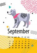 Calendar For September With Cute Pedigree Dog. German Wirehaired Pointer As Symbol Of New Year By Ch poster