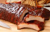 foto of ribs  - Delicious BBQ ribs with toasted bread cole slaw and a tangy BBQ sauce - JPG
