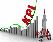 The Graph Of Kpi Growth. Graph Of Rapid Growth With Word Kpi (key Performance Indicator) And Rocket  poster