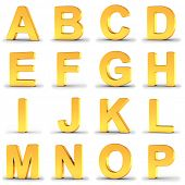 3D illustration set of golden alphabet letters from A to P over white background with clipping path  poster