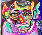 Portrait Of Colorful Cow In Pink Clothes And Headphones Listens To Music - Contemporary Art Digital  poster