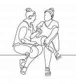 Continuous One Line Drawing Of Two Women Are Sitting And Talking In Modern Minimalistic Style, Vecto poster