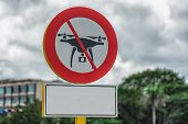 Picture Of Drone Flight Prohibited Road Sign On The Cuban Streets. poster
