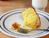 foto of pound cake  - Slice of lemon pound cake with fork and milk - JPG