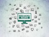 News Concept: Painted Green Breaking News On Screen Icon On Digital Data Paper Background With  Hand poster