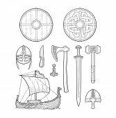 Постер, плакат: Set Viking Knife Drakkar Axe Helmet Sword Hammer Thor Amulet With Runes Vintage Vector Black