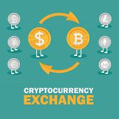 Dollar To Bitcoin Currency Exchange. Bitcoin Exchange With Bitcoin Coin Symbol And Sign Of Other Cur poster