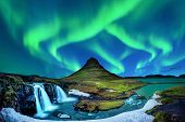 Northern Light, Aurora Borealis At Kirkjufell In Iceland. Kirkjufell Mountains In Winter. poster