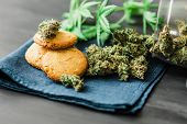 Cookies With Cannabis Cbd And Buds Of Marijuana On The Table. A Can Of Cannabis Buds Concept Of Cook poster