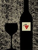 pic of wine bottle  - Contemporary winery menu design background - JPG