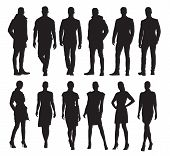 Business Men And Women In Different Poses, Set Of Vector Silhouettes. Adult People In Formal Dress A poster