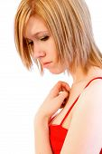 stock photo of hottie  - Sad young woman in a red dress - JPG